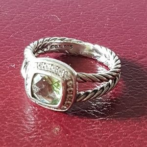 David Yurman Albion Petite Prasiolite Diamond Ring